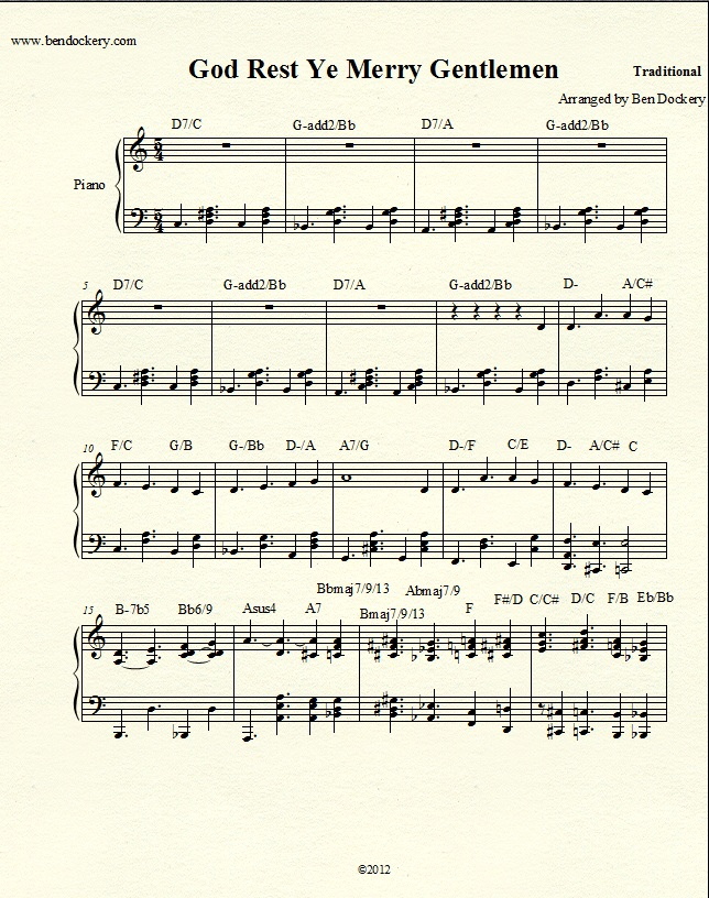 Piano jazz piano sheet music for beginners : Original Arrangement - Sheet Music - God Rest Ye Merry Gentlemen ...